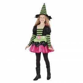 Deguisement enfant de sorcière noire, rose et verte