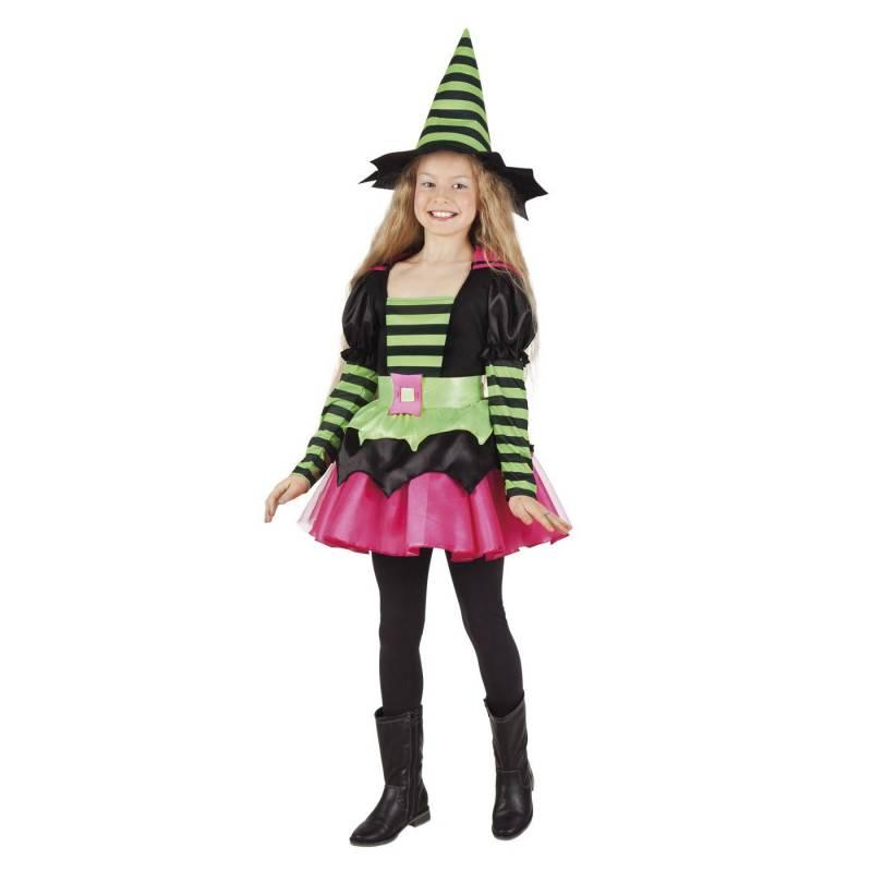 Déguisement enfant de sorcière noire, rose et verte