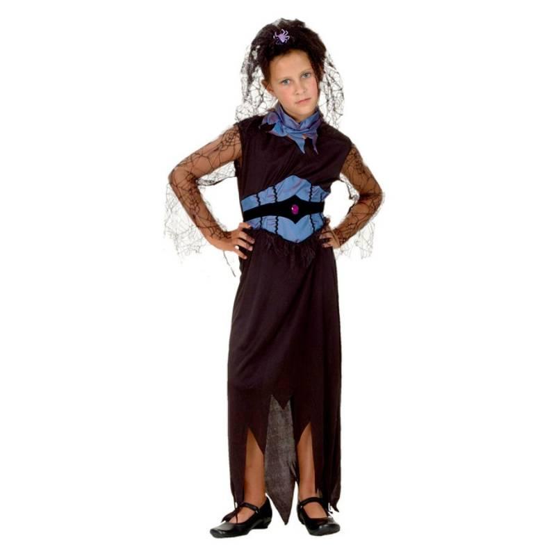 Déguisement enfant de sorcière araignée bleue et noire