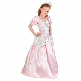 Déguisement enfant de princesse avec robe rose et argent