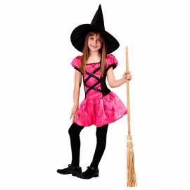 Déguisement enfant de sorcière rose et noir