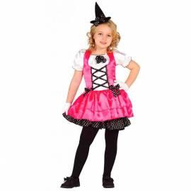 Déguisement enfant de petite sorcière rose et noir