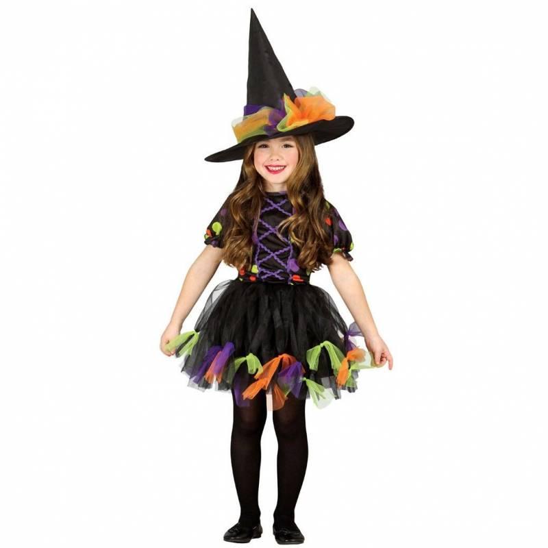 Déguisement enfant de sorcière noire, violet, vert et orange