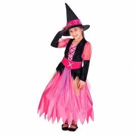 Deguisement enfant de sorcière rose et noir