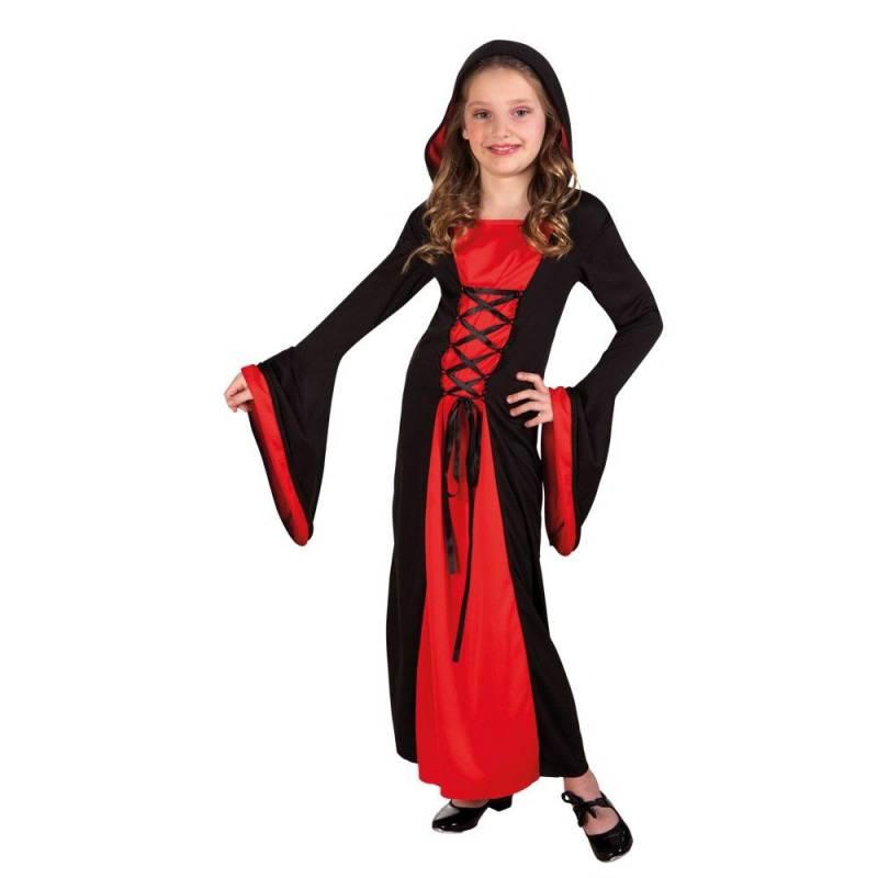 Déguisement enfant de dame du Moyen Age rouge et noir