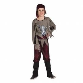 Déguisement enfant de pirate zombie avec poitrine ouverte