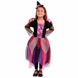Déguisement enfant de sorcière noir, violet et rose
